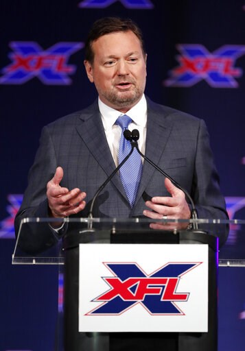 (AP Photo/Tony Gutierrez). Bob Stoops makes comments after being introduced as the new head coach and general manager of the XFL Dallas football team during a news conference in Arlington, Texas, Thursday, Feb. 7, 2019.