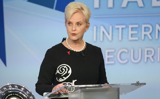 (Darren Calabrese /The Canadian Press via AP). FILE - In this Nov. 17, 2018 file photo, Cindy McCain pauses while presenting the inaugural John McCain Prize for Leadership in Public Service to the People of the island of Lesbos, Greece at the Halifax I...