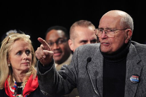 (AP Photo/Carlos Osorio, File). FILE - In this Nov. 6, 2012 file photo, Rep. John Dingell, D-Mich., addresses supporters during the Michigan Democratic election night party at the MGM Grand Detroit. Dingell, the longest-serving member of Congress in Am...