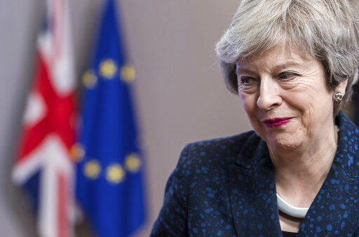 (AP Photo/Geert Vanden Wijngaert). Britain's Prime Minister Theresa May leaves after a meeting with European Council President Donald Tusk at the European Council headquarters in Brussels, Thursday, Feb. 7, 2019.