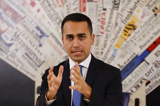 (AP Photo/Andrew Medichini, File). FILE - In this Nov.9, 2018 file photo, Italian deputy Premier and Labor Minister Luigi Di Maio talks to reporters during a press conference at the Foreign Press Association headquarters, in Rome. France is recalling i...