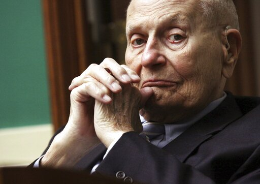 (AP Photo/Lauren Victoria Burke, File). FILE - In this May 7, 2014 file photo, Rep. John Dingell, D-Mich. is seen on Capitol Hill in Washington. Dingell, the longest-serving member of Congress in American history who mastered legislative deal-making an...