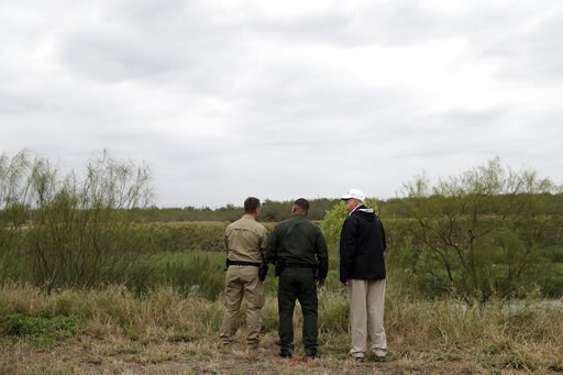 (AP Photo/Evan Vucci, File). FILE - In this Jan. 10, 2019, file photo President Donald Trump, far right, tours the U.S. border with Mexico at the Rio Grande on the southern border in McAllen, Texas. The Trump administration said Thursday, Feb. 7, 2019,...