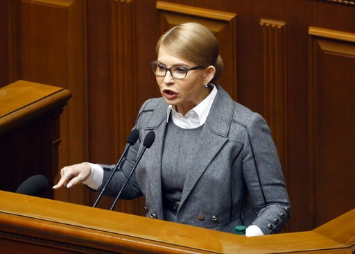 (AP Photo/Efrem Lukatsky). Former Ukrainian Prime Minister Yulia Tymoshenko speaks during a parliament session in Kiev, Ukraine, Thursday, Feb. 7, 2019.  During the plenary session lawmakers voted on various matters including issues about the Constitut...