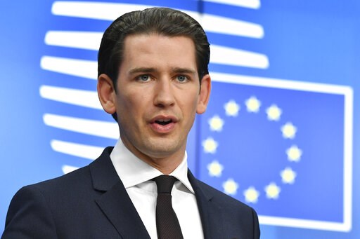 (AP Photo/Geert Vanden Wijngaert). FILE - In this Dec. 14, 2018 file photo, Austrian Chancellor Sebastian Kurz speaks during a media conference at the conclusion of an EU summit in Brussels. President Donald Trump will host Austria's Chancellor Sebasti...