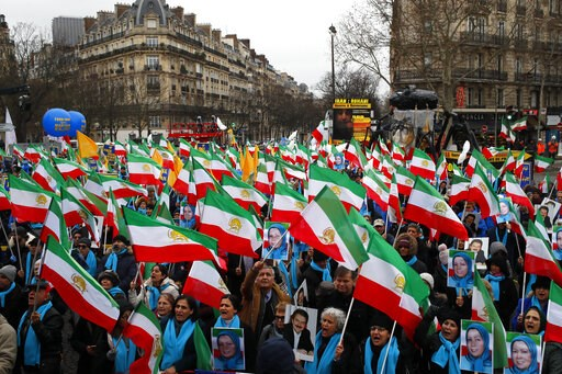 (AP Photo/Francois Mori). Supporters of Maryam Rajavi, the leader of the National Council of Resistance of Iran, demonstrate in Paris, Friday Feb.8, 2019 as Iran marks the 40th anniversary of its Islamic Revolution.