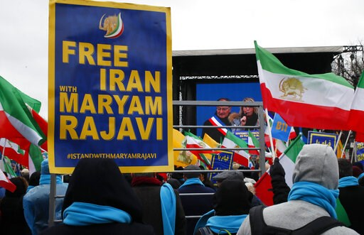 (AP Photo/Francois Mori). Supporters of Maryam Rajavi, the leader of the National Council of Resistance of Iran, gather during a rally in Paris, Friday Feb.8, 2019 as Iran marks the 40th anniversary of its Islamic Revolution.