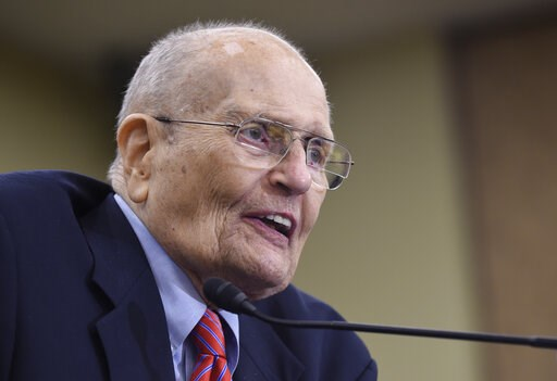 (AP Photo/Susan Walsh, File). FILE - In this July 29, 2015 file photo, former Rep. John Dingell, D-Mich., speaks at an event marking the 50th Anniversary of Medicare and Medicaid on Capitol Hill in Washington. Former Michigan Rep. John Dingell, the lon...