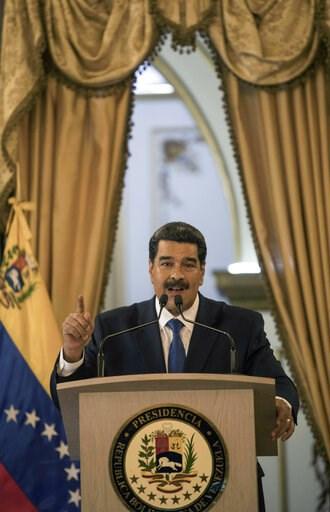(AP Photo/Rodrigo Abd). Venezuela's President Nicolas Maduro talks during a press conference at Miraflore's Presidential Palace in Caracas, Venezuela, Friday, Feb. 8, 2019. U.S. humanitarian aid destined for Venezuela was being prepared at a warehouse ...