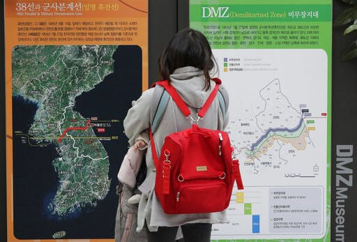 (AP Photo/Lee Jin-man). A visitor looks at a map of the Korean peninsula at the DMZ museum inside a restricted area in Goseong, South Korea, Friday, Feb. 8, 2019. The top U.S. envoy for North Korea returned to South Korea on Friday after three days of ...