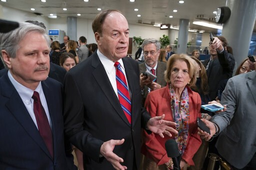 (AP Photo/J. Scott Applewhite). In this Feb. 6, 2019, photo, Sen. Richard Shelby, R-Ala., the top Republican on the bipartisan group bargainers working to craft a border security compromise in hope of avoiding another government shutdown, is joined by ...