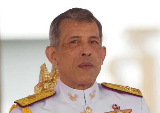 (AP Photo/Sakchai Lalit, File). FILE- In this May 12, 2017, file photo, Thailand's King Maha Vajiralongkorn addresses the audience at the royal ceremony in Bangkok, Thailand. Late Friday, Feb. 8, 2019, King Vajiralongkorn issued a decree stating that n...