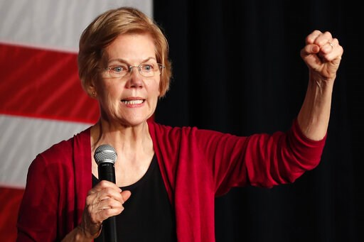 (AP Photo/Matthew Putney, File). FILE - In this Saturday, Jan. 5, 2019, file photo, Sen. Elizabeth Warren, D-Mass., speaks during an organizing event at Curate event space in Des Moines, Iowa.