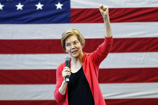 (AP Photo/Michael Dwyer, File). FILE - In this Jan. 12, 2019, file photo, Sen. Elizabeth Warren, D-Mass., speaks during an organizing event at Manchester Community College in Manchester, N.H. Warren is expected to formally launch her presidential bid o...