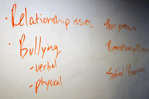 (AP Photo/Benny Snyder). In this Nov. 15, 2018 photo, the board in a classroom is shown with key words during a Youth Aware of Mental Health session at Uplift Hampton Preparatory School in Dallas. University of Texas Southwestern Medical Center offers ...
