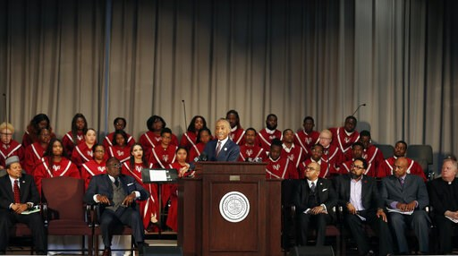 (James H. Wallace/Richmond Times-Dispatch via AP). Rev. Al Sharpton delivers the keynote speech at the Reflections on Faith, Community and Racial Reconciliation in the Commonwealth ceremony hosted by Virginia Union University at the Allix B. James Chap...