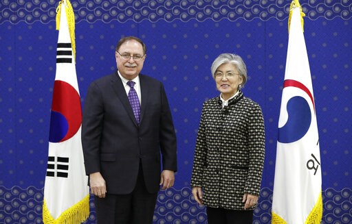 (AP Photo/Lee Jin-man, Pool). South Korean Foreign Minister Kang Kyung-wha, right, and Timothy Betts, acting Deputy Assistant Secretary and Senior Advisor for Security Negotiations and Agreements in the U.S. Department of State, stand for the media bef...
