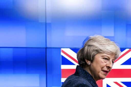 (AP Photo/Geert Vanden Wijngaert). Britain's Prime Minister Theresa May arrives to meet European Council President Donald Tusk at the European Council headquarters in Brussels, Thursday, Feb. 7, 2019.