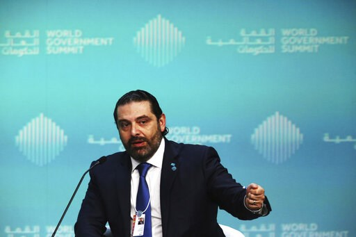 (AP Photo/Jon Gambrell). Lebanese Prime Minister Saad Hariri speaks during the World Government Summit in Dubai, United Arab Emirates, Sunday, Feb. 10, 2019. At the summit on Sunday, Hariri urged investment in Lebanon as it faces an economic crisis tha...