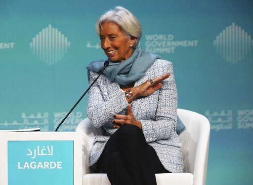 (AP Photo/Jon Gambrell). International Monetary Fund Managing Director Christine Lagarde speaks at the World Government Summit in Dubai, United Arab Emirates, Sunday, Feb. 10, 2019. Lagarde on Sunday warned that the British exit from the European Union...