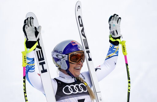 (AP Photo/Giovanni Auletta). United States' Lindsey Vonn smiles in the finish area after the women's downhill race, at the alpine ski World Championships in Are, Sweden, Sunday, Feb. 10, 2019.