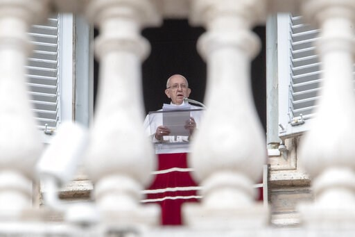 (AP Photo/Andrew Medichini). Pope Francis delivers his speech prior to reciting the Angelus noon prayer from the window of his studio overlooking St. Peter's Square, at the Vatican, Sunday, Feb. 10, 2019.