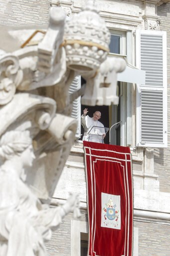 (AP Photo/Andrew Medichini). Pope Francis greets the faithful prior to reciting the Angelus noon prayer from the window of his studio overlooking St. Peter's Square, at the Vatican, Sunday, Feb. 10, 2019.