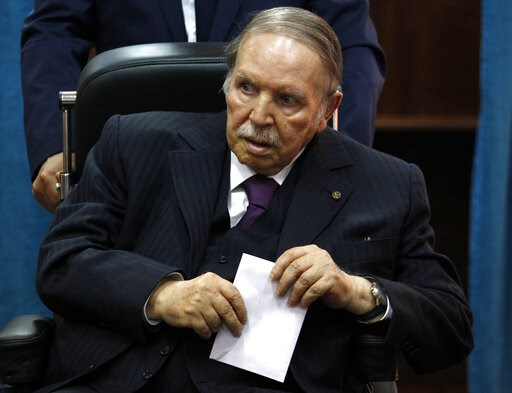 (AP Photo/Sidali Djarboub, File). FILE - In this May 4, 2017, file photo, Algerian President Abdelaziz Bouteflika prepares to vote in Algiers. More than 180 people want to run for president of Algeria in the April election, amid growing uncertainty abo...