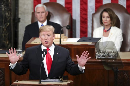 (AP Photo/Andrew Harnik). In this Feb. 5, 2019 photo, President Donald Trump delivers his State of the Union address to a joint session of Congress on Capitol Hill in Washington, as Vice President Mike Pence and Speaker of the House Nancy Pelosi, D-Cal...