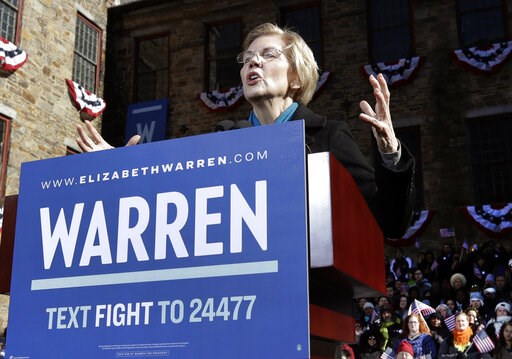 (AP Photo/Elise Amendola). Sen. Elizabeth Warren, D-Mass., speaks during an event to formally launch her presidential campaign, Saturday, Feb. 9, 2019, in Lawrence, Mass.