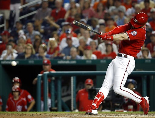 (AP Photo/Alex Brandon, File). FILE - In this June 8, 2018, file photo, Washington Nationals' Bryce Harper hits a two-RBI double during the fifth inning of a baseball game against the San Francisco Giants at Nationals Park in Washington. Harper, Manny ...