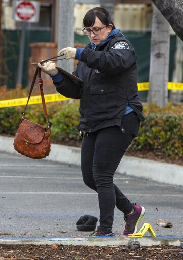 (Mindy Schauer/The Orange County Register via AP). Heather Barclay, an accident investigator with the Fullerton Police Department, recovers a purse that was lodged underneath a pickup truck in the aftermath of a car accident, Sunday, Feb. 10, 2019, in ...