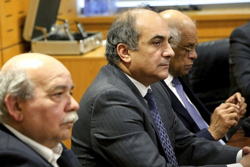(AP Photo/Petros Karadjias). Cypriot Parliamentary Speaker Demetris Syllouris, center, with Egyptian counterpart Ali Abdel-Aal, right, and Nikos Voutsis of Greece, left, talk during a press conference in the parliament house in capital Nicosia, Cyprus,...
