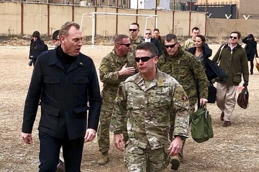 (AP Photo/Robert Burns). Acting Defense Secretary Pat Shanahan, left, arrives in Kabul, Afghanistan, Monday morning, Feb. 11, 2019, to consult with Army Gen. Scott Miller, right, commander of U.S. and coalition forces, and senior Afghan government lead...