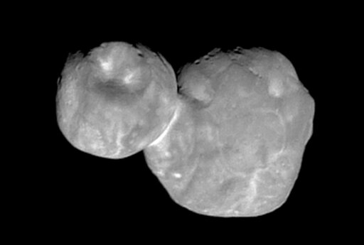 (NASA/Johns Hopkins University Applied Physics Laboratory/Southwest Research Institute via AP, File). FILE- This Tuesday, Jan. 1, 2019, file image made available by NASA shows the Kuiper belt object Ultima Thule, about 1 billion miles beyond Pluto, enc...