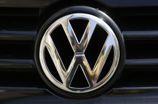 (AP Photo/Markus Schreiber, file). FILE - In this Aug. 1, 2017 file photo the car marques badge of Volkswagen, VW, is photographed on a car in Berlin, Germany.  Economists at the Halle Institute for Economic Research issued a report Monday Feb. 11, 201...