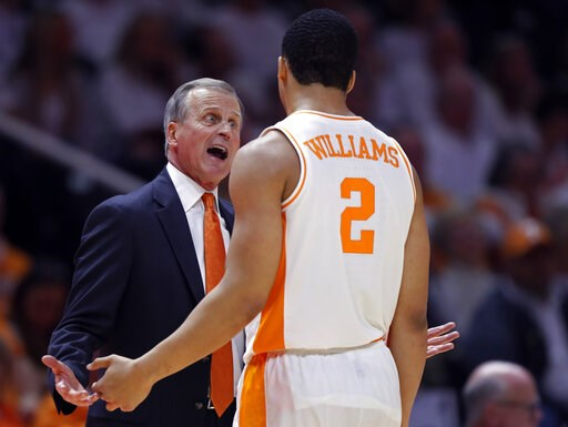 (AP photo/Wade Payne). Tennessee coach Rick Barnes talks with forward Grant Williams (2) during the second half of an NCAA college basketball game against Florida on Saturday, Feb. 9, 2019, in Knoxville, Tenn. Tennessee won 73-61.