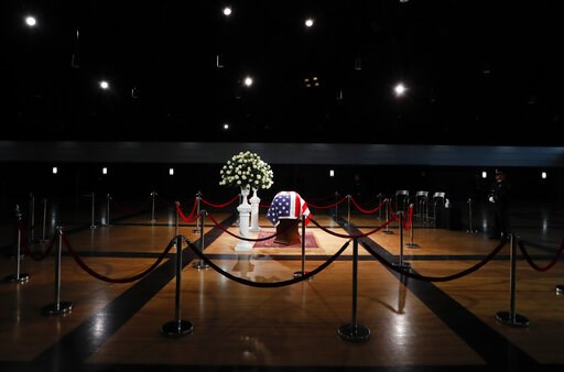 (AP Photo/Paul Sancya). The casket of former Michigan Rep. John Dingell, lies in repose in Dearborn, Mich., Monday, Feb. 11, 2019. Dingell, the longest-serving member of Congress in American history, was first elected in 1955 and retired in 2014. The D...
