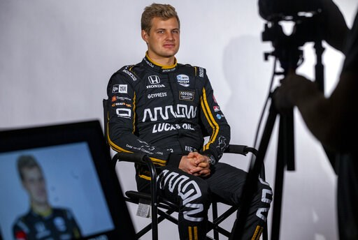 (AP Photo/Stephen Spillman). IndyCar driver Marcus Ericsson, of Sweden, is interviewed during IndyCar auto racing media day, Monday, Feb. 11, 2019, in Austin, Texas.