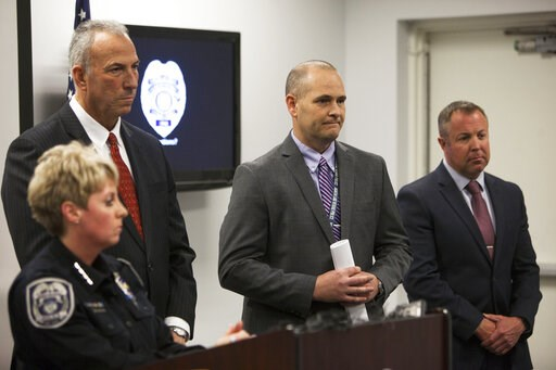 (Rachel Aston/Las Vegas Review-Journal via AP). North Las Vegas Police Department Chief Pamela Ojeda, from left, District Attorney Steve Wolfson, Detective Steven Wiese and Detective Sean Sprague discuss new discoveries in the case of the disappearance...