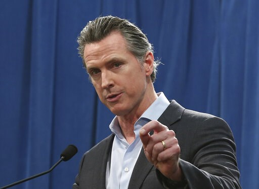 (AP Photo/Rich Pedroncelli). California Gov. Gavin Newsom discusses his decision to withdraw most of the National Guard troops from the nation's southern border and changing their mission, during a Capitol news conference Monday, Feb. 11, 2019, in Sacr...