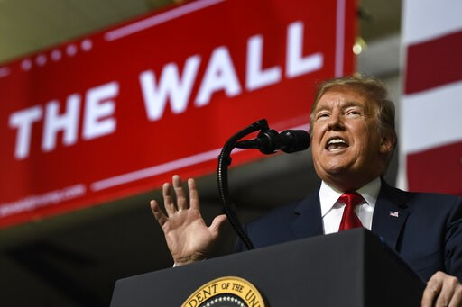 (AP Photo/Susan Walsh). President Donald Trump speaks during a rally in El Paso, Texas, Monday, Feb. 11, 2019.