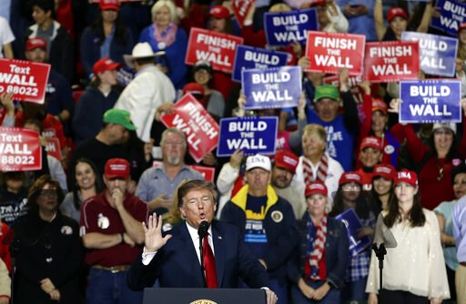 (AP Photo/Eric Gay). President Donald Trump speaks during a rally at the El Paso County Coliseum, Monday, Feb. 11, 2019, in El Paso, Texas.