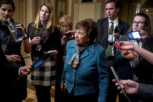 (AP Photo/Andrew Harnik). House Appropriations Committee Chair Nita Lowey, D-N.Y., speaks to reporters as she arrives for a closed-door meeting at the Capitol as bipartisan House and Senate bargainers trying to negotiate a border security compromise in...