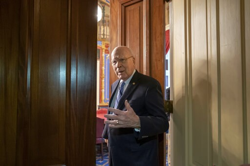 (AP Photo/J. Scott Applewhite). Sen. Patrick Leahy, D-Vt., the ranking member of the Senate Appropriations Committee, enters a closed meeting room at the Capitol as bipartisan House and Senate bargainers trying to negotiate a border security compromise...