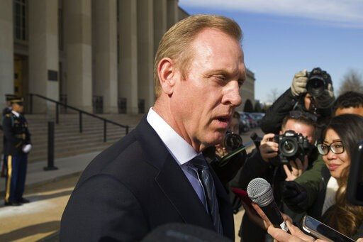 (AP Photo/Alex Brandon, File). FILE - In this Jan. 28, 2019, file photo, acting Defense Secretary Pat Shanahan speaks with the media as he waits for the arrival of NATO Secretary General Jens Stoltenberg at the Pentagon in Washington. The Pentagon's to...