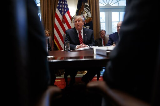(AP Photo/ Evan Vucci). President Donald Trump speaks during a cabinet meeting at the White House, Tuesday, Feb. 12, 2019, in Washington.