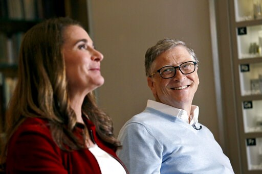 (AP Photo/Elaine Thompson). In this Feb. 1, 2019 photo, Bill Gates looks to his wife Melinda as they are interviewed in Kirkland, Wash. The couple, whose foundation has the largest endowment in the world, are pushing back against a new wave of criticis...