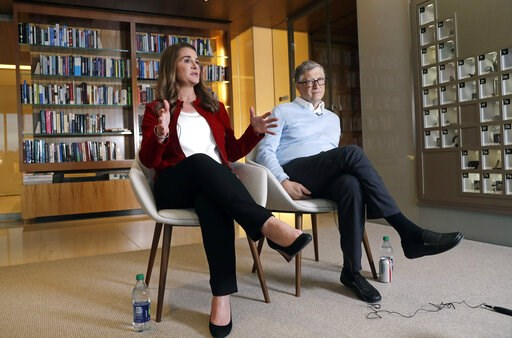 (AP Photo/Elaine Thompson). In this Feb. 1, 2019 photo, Bill and Melinda Gates are interviewed in Kirkland, Wash. The couple, whose foundation has the largest endowment in the world, are pushing back against a new wave of criticism about whether billio...