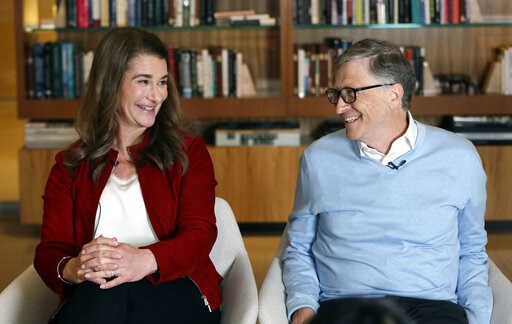 (AP Photo/Elaine Thompson). In this Feb. 1, 2019, Bill and Melinda Gates look toward each other and smile while being interviewed in Kirkland, Wash. The couple, whose foundation has the largest endowment in the world, are pushing back against a new wav...